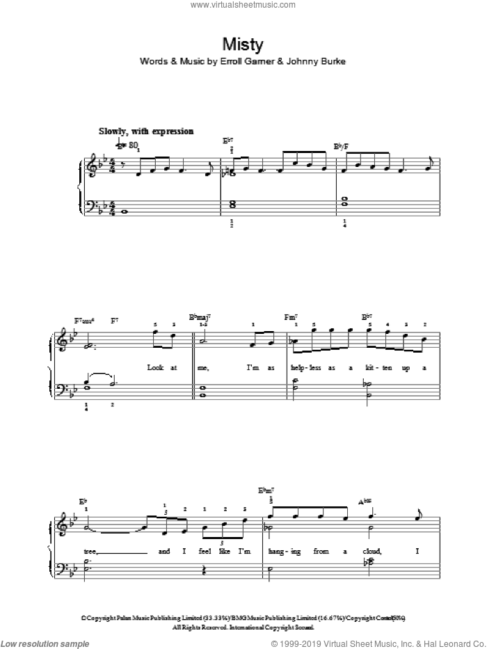 Misty sheet music for voice, piano or guitar by John Burke and Erroll Garner. Score Image Preview.