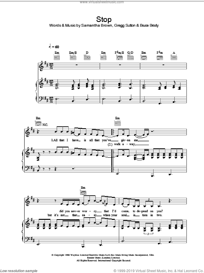 Stop sheet music for voice, piano or guitar by Samantha Brown and Jamelia. Score Image Preview.