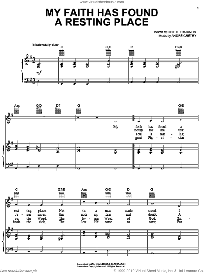 My Faith Has Found A Resting Place sheet music for voice, piano or guitar by Andre Gretry, Lidie H. Edmunds and William J. Kirkpatrick, intermediate. Score Image Preview.