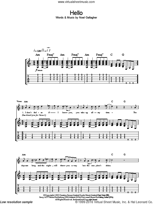 Hello sheet music for guitar (tablature) by Noel Gallagher and Oasis. Score Image Preview.