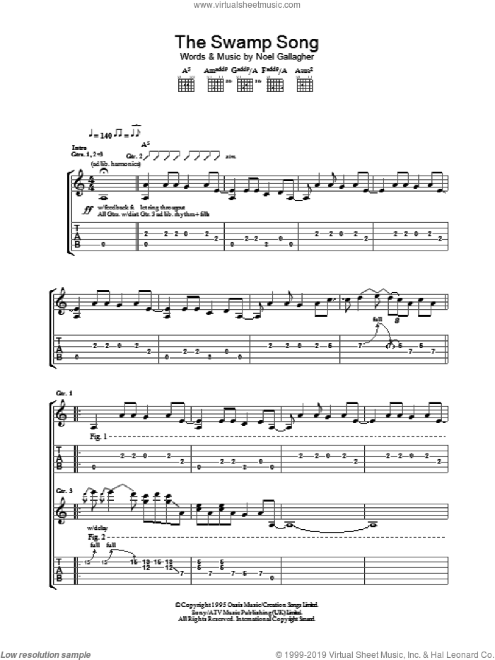 The Swamp Song sheet music for guitar (tablature) by Noel Gallagher and Oasis. Score Image Preview.