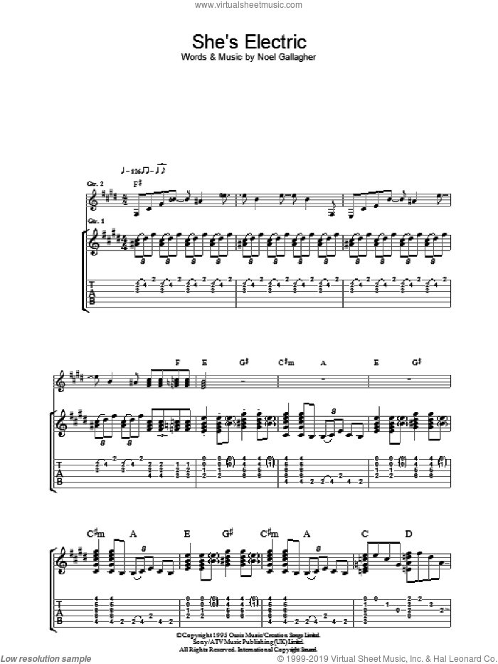 She's Electric sheet music for guitar (tablature) by Noel Gallagher and Oasis. Score Image Preview.