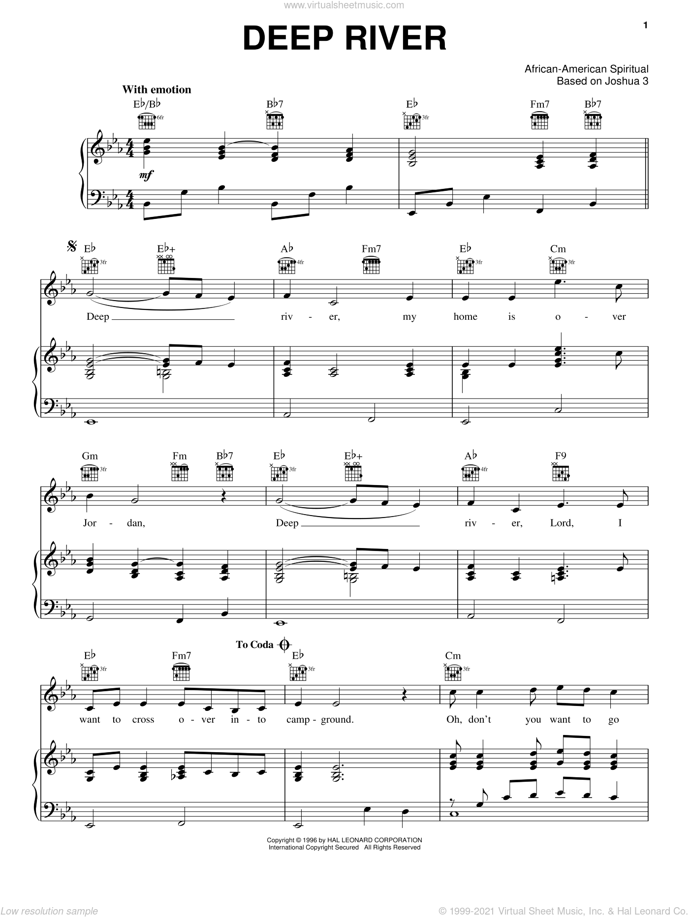 Deep River sheet music for voice, piano or guitar, intermediate skill level