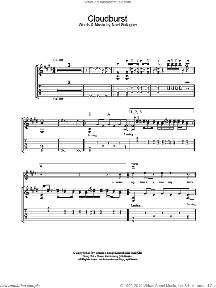 Cloudburst sheet music for guitar (tablature) by Noel Gallagher