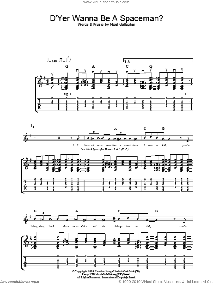 D'Yer Wanna Be A Spaceman? sheet music for guitar (tablature) by Noel Gallagher