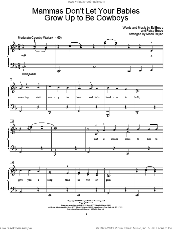 Mammas Don't Let Your Babies Grow Up To Be Cowboys sheet music for piano solo (elementary) by Patsy Bruce