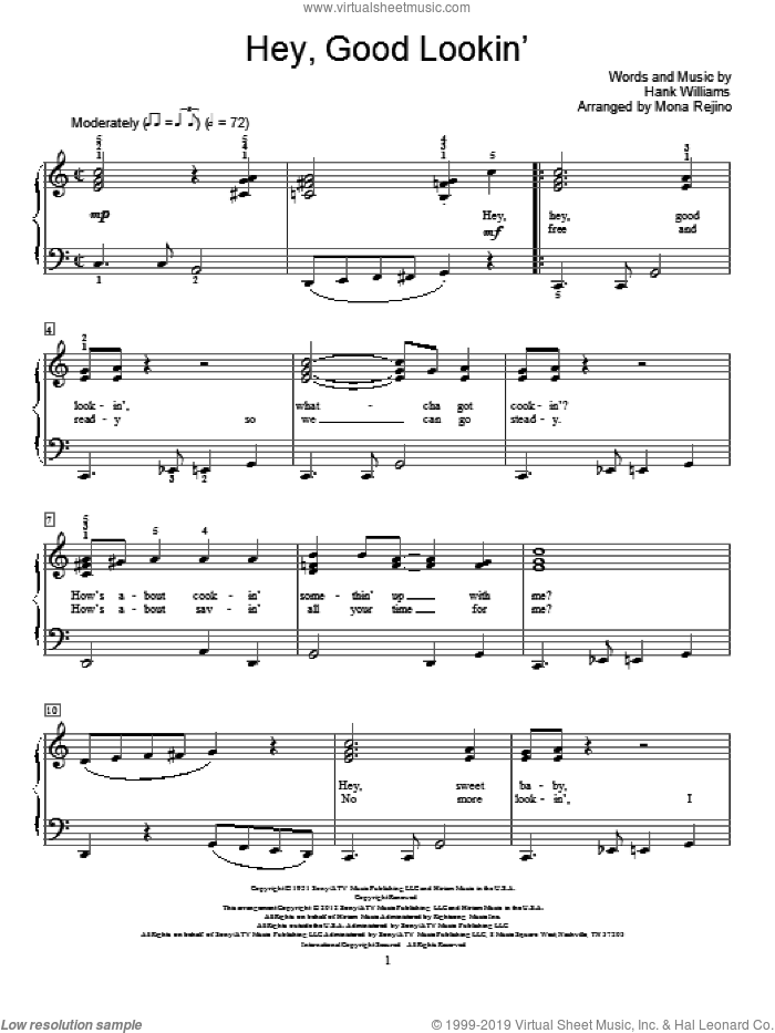 Hey, Good Lookin' sheet music for piano solo (elementary) by Hank Williams and Mona Rejino. Score Image Preview.