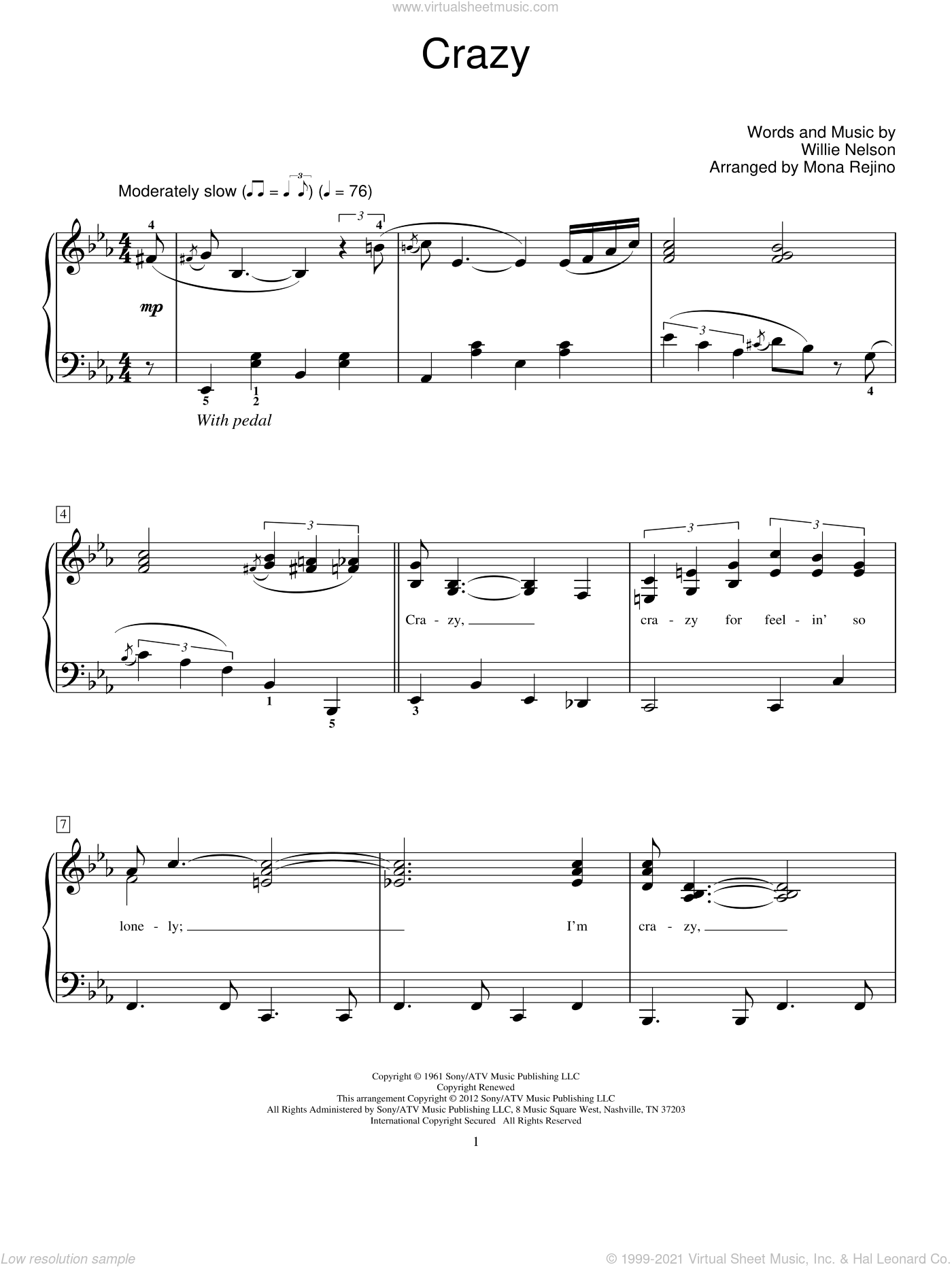 Crazy sheet music for piano solo (elementary) by Patsy Cline, Mona Rejino and Willie Nelson, beginner piano (elementary)
