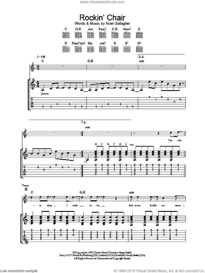 Rockin' Chair sheet music for guitar (tablature) by Noel Gallagher