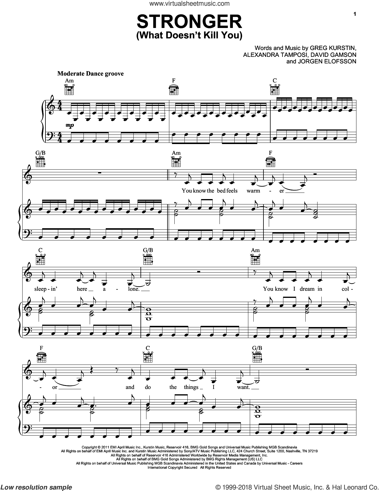 Stronger (What Doesn't Kill You) sheet music for voice, piano or guitar by Kelly Clarkson, Alexandra Tamposi, David Gamson, Greg Kurstin and Jorgen Elofsson, intermediate skill level