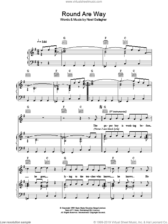 Round Are Way sheet music for voice, piano or guitar by Oasis and Noel Gallagher, intermediate. Score Image Preview.