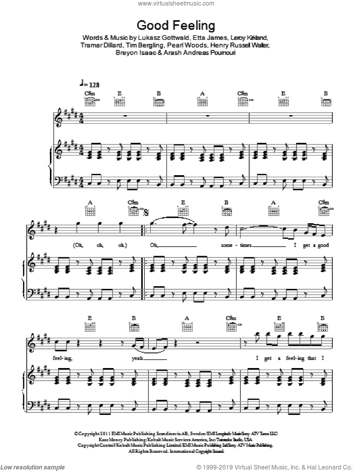 Good Feeling sheet music for voice, piano or guitar by Flo Rida, Arash Andreas Pournouri, Breyon Isaac, Etta James, Henry Russell Walter, Leroy Kirkland, Lukasz Gottwald, Pearl Woods, Tim Bergling and Tramar Dillard, intermediate skill level