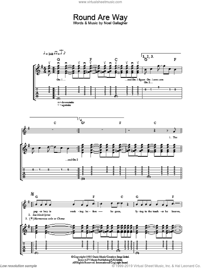 Round Are Way sheet music for guitar (tablature) by Noel Gallagher and Oasis. Score Image Preview.