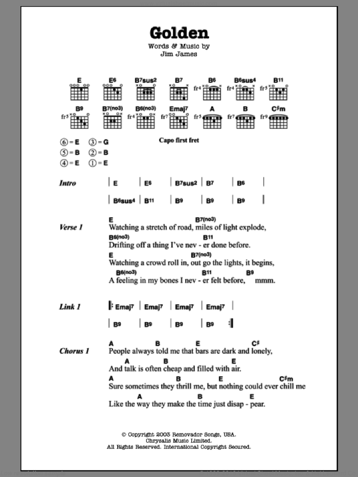 Golden sheet music for guitar (chords) by My Morning Jacket and Jim James, intermediate skill level