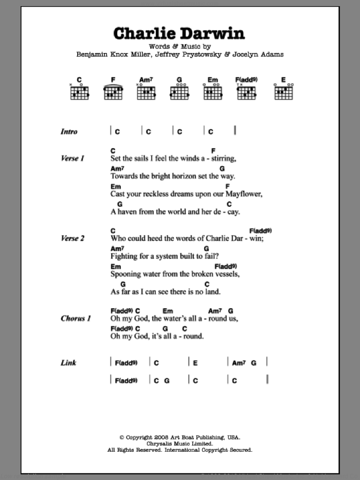 Charlie Darwin sheet music for guitar (chords) by The Low Anthem, Benjamin Knox Miller, Jeffrey Prystowsky and Jocelyn Adams, intermediate skill level