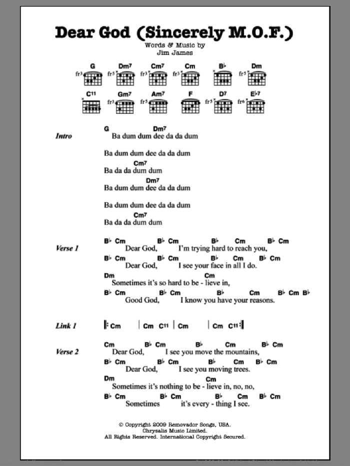 Dear God (Sincerely M.O.F.) sheet music for guitar (chords) by Monsters Of Folk and Jim James, intermediate
