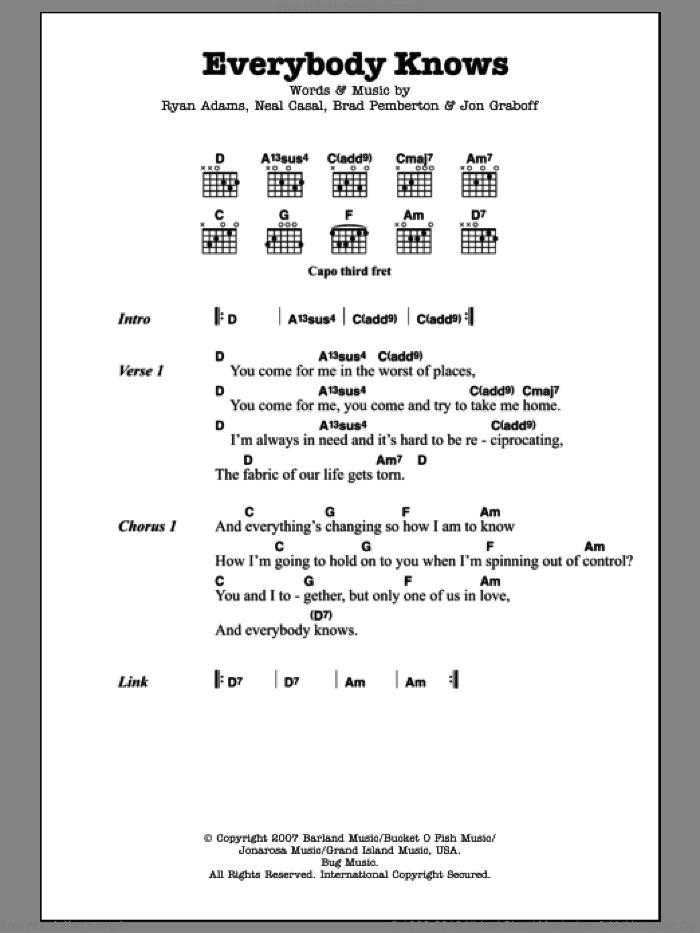 Everybody Knows sheet music for guitar (chords) by Ryan Adams, intermediate. Score Image Preview.