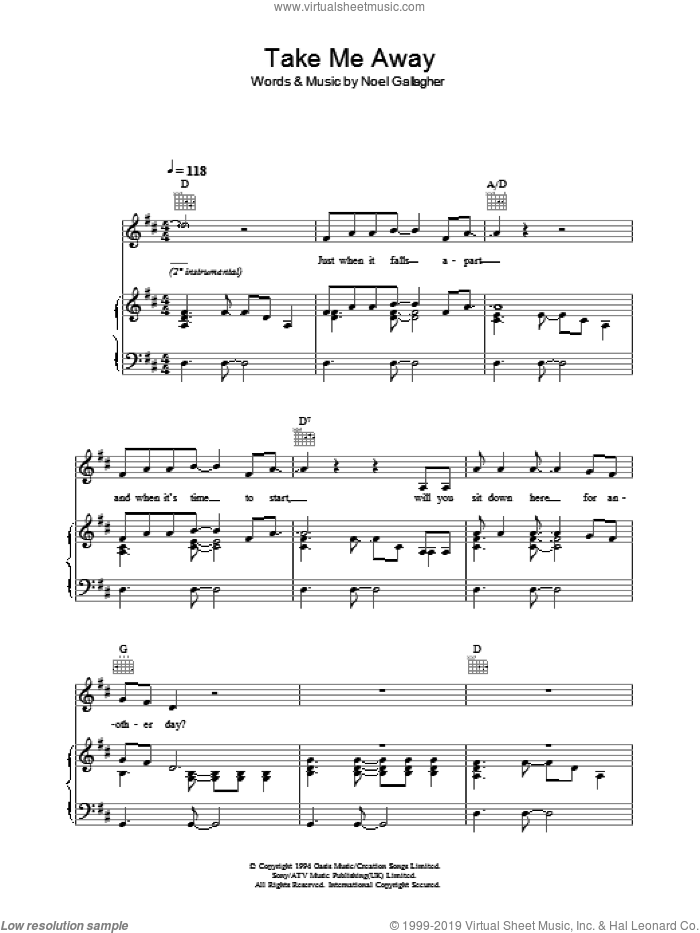 Take Me Away sheet music for voice, piano or guitar by Oasis and Noel Gallagher, intermediate skill level