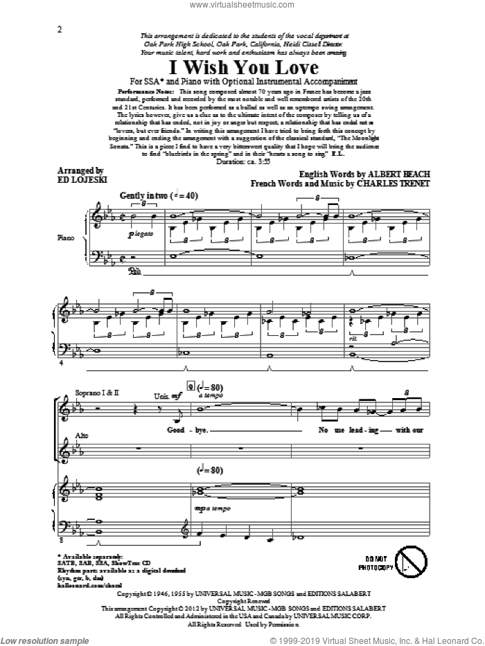 I Wish You Love sheet music for choir (soprano voice, alto voice, choir) by Albert Beach, Charles Trenet and Ed Lojeski. Score Image Preview.
