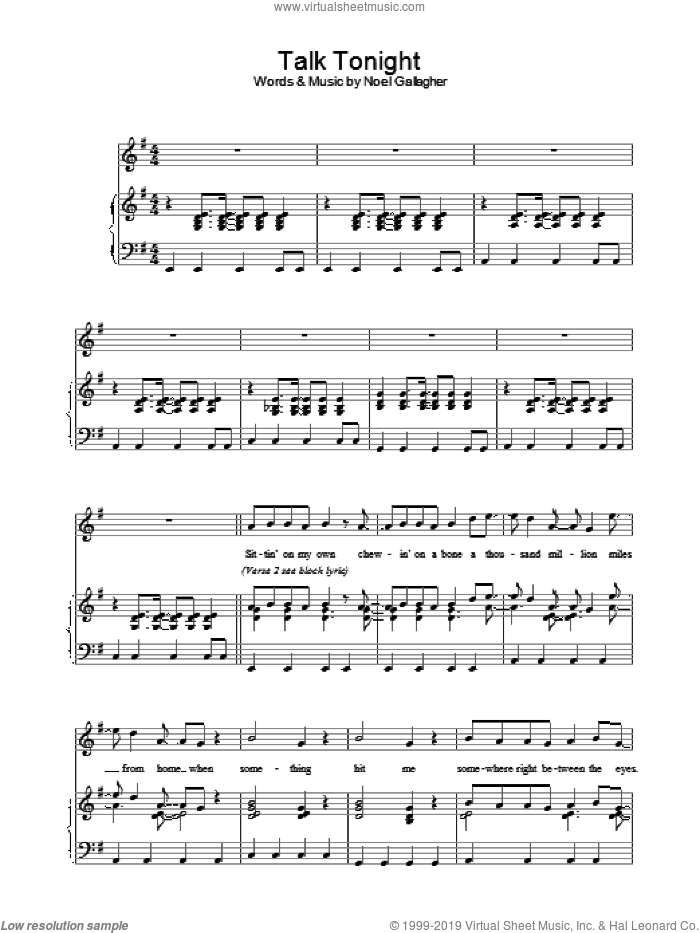 Talk Tonight sheet music for voice, piano or guitar by Oasis and Noel Gallagher, intermediate. Score Image Preview.