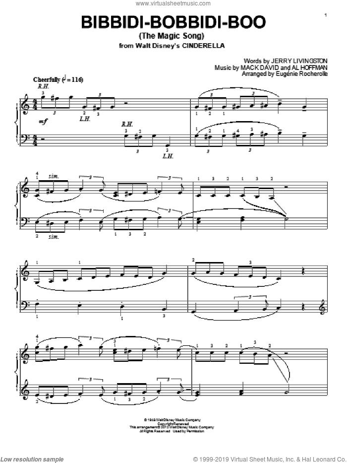 Bibbidi-Bobbidi-Boo (The Magic Song) sheet music for piano solo by Jerry Livingston, Eugenie Rocherolle, Al Hoffman and Mack David. Score Image Preview.