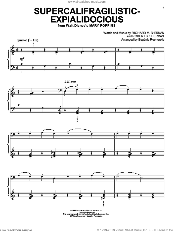 Supercalifragilisticexpialidocious sheet music for piano solo by Richard M. Sherman, Eugenie Rocherolle, Mary Poppins (Movie), Sherman Brothers and Robert B. Sherman, intermediate