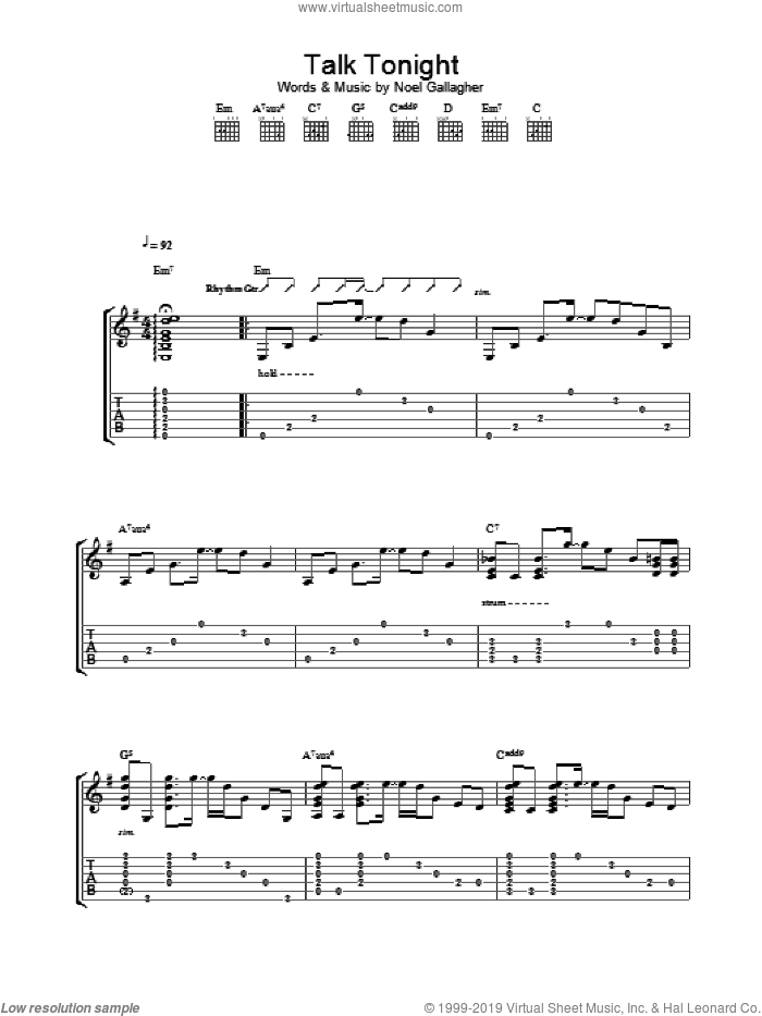 Talk Tonight sheet music for guitar (tablature) by Noel Gallagher and Oasis. Score Image Preview.