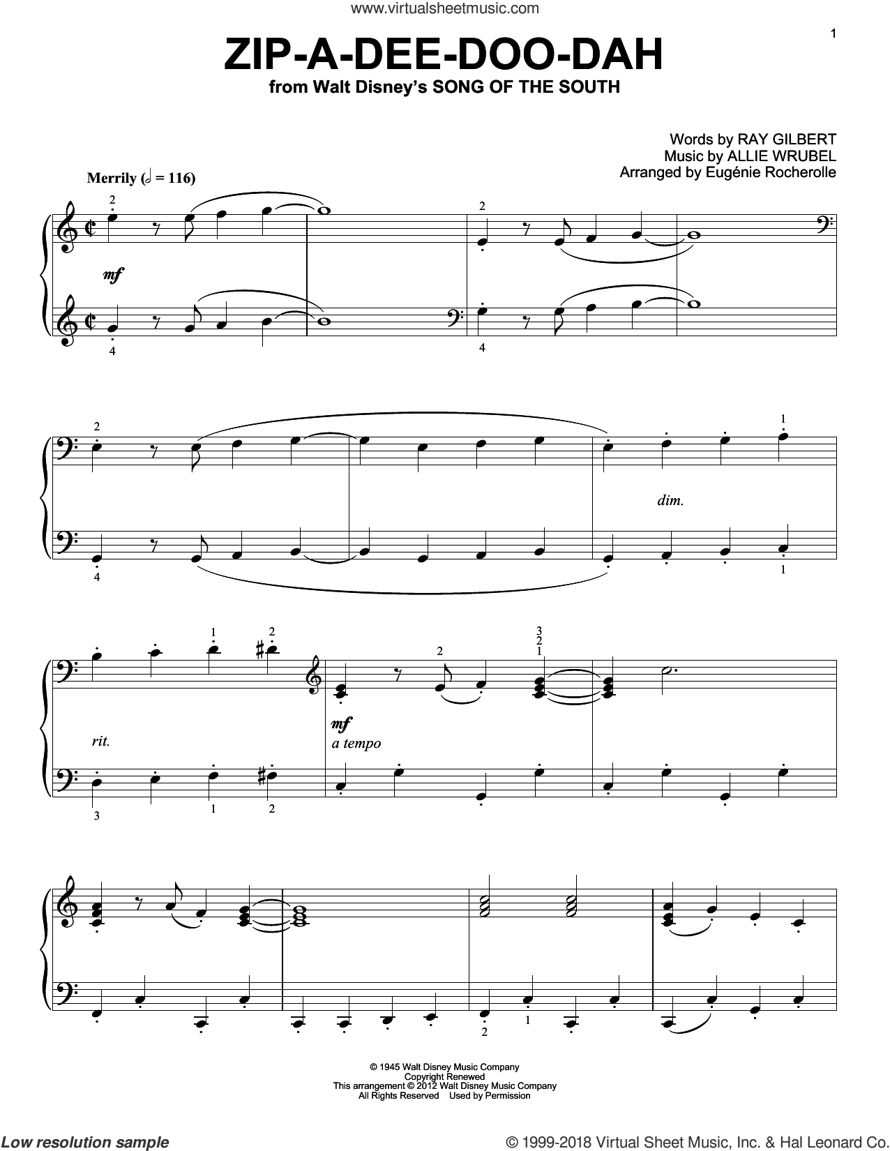 Zip-A-Dee-Doo-Dah sheet music for piano solo by Ray Gilbert, Eugenie Rocherolle and Allie Wrubel, intermediate skill level