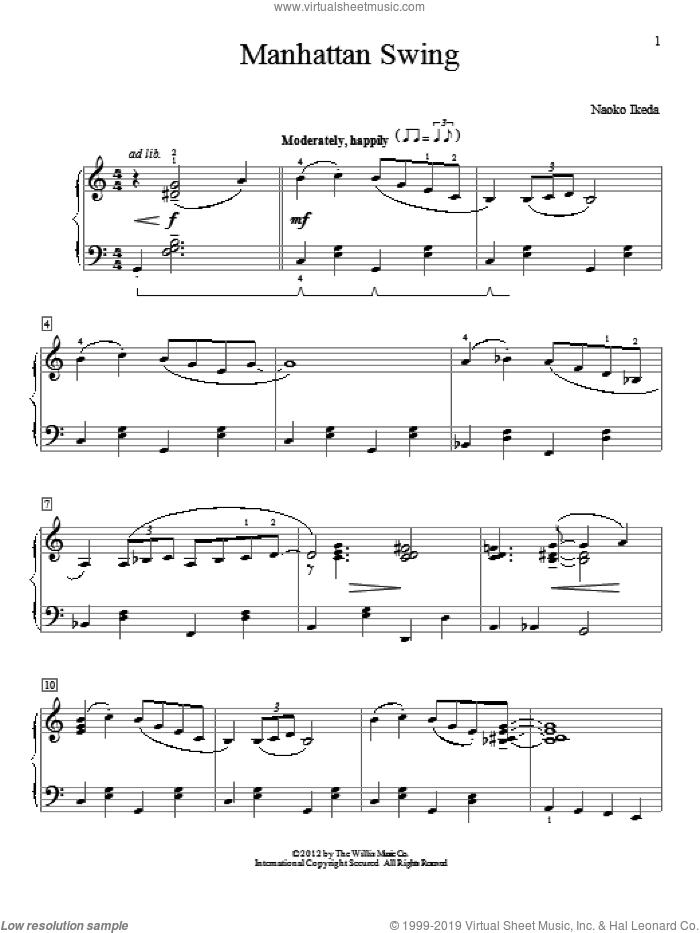 Manhattan Swing sheet music for piano solo (elementary) by Naoko Ikeda