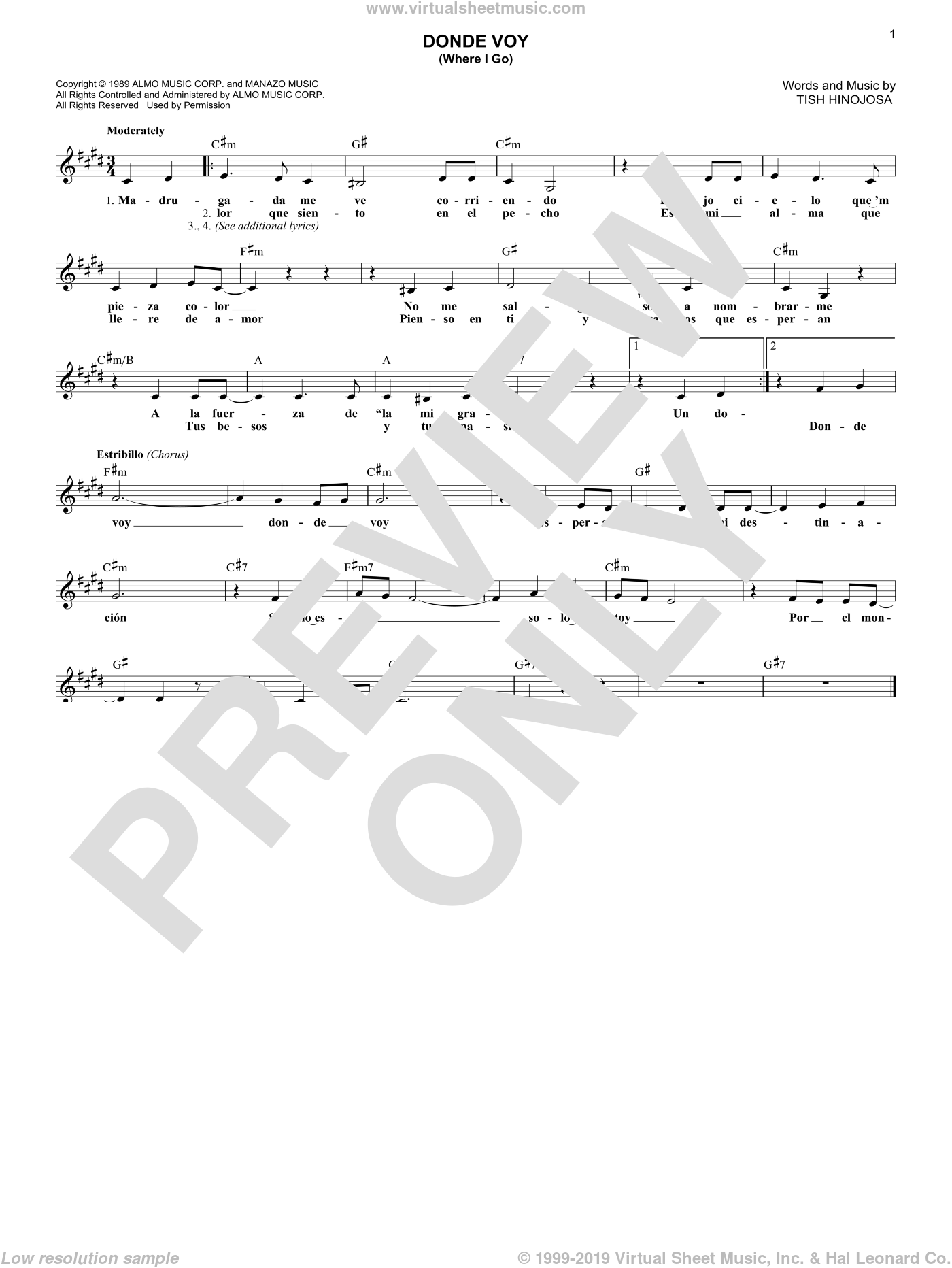 Donde Voy (Where I Go) sheet music for voice and other instruments (fake book) by Tish Hinojosa. Score Image Preview.