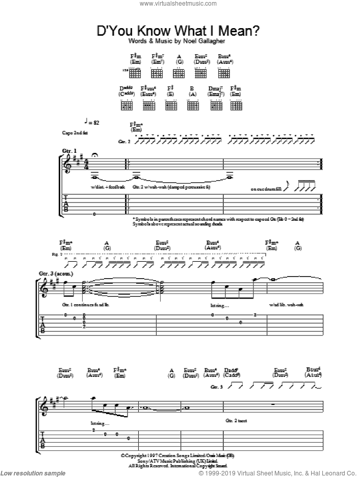 D'You Know What I Mean? sheet music for guitar (tablature) by Noel Gallagher and Oasis. Score Image Preview.