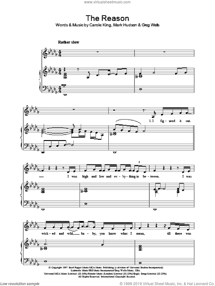 The Reason sheet music for voice, piano or guitar by Celine Dion, Carole King, Greg Wells and Mark Hudson, intermediate voice, piano or guitar. Score Image Preview.