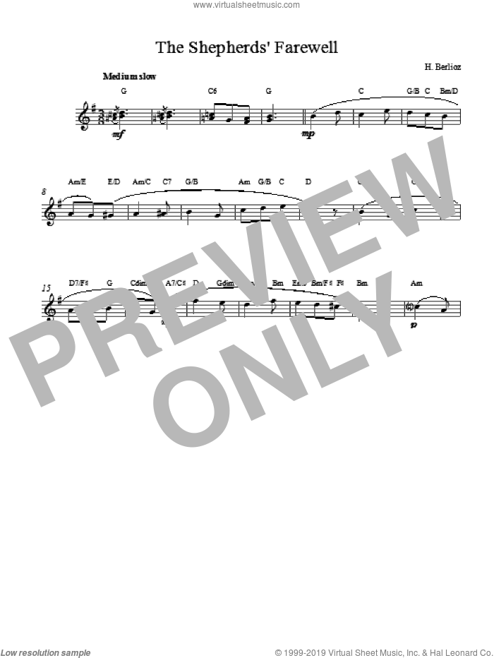 The Shepherds Farewell sheet music for voice and other instruments (fake book) by Hector Berlioz. Score Image Preview.
