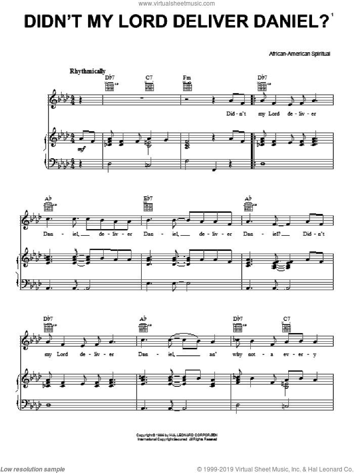 Didn't My Lord Deliver Daniel? sheet music for voice, piano or guitar. Score Image Preview.