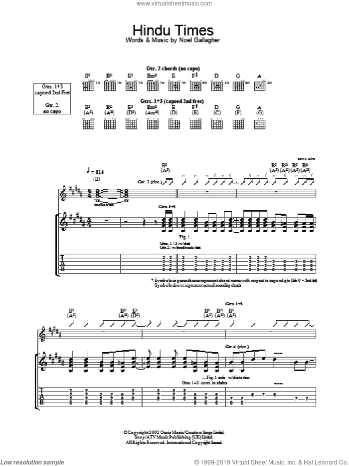 The Hindu Times sheet music for guitar (tablature) by Oasis and Noel Gallagher, intermediate. Score Image Preview.