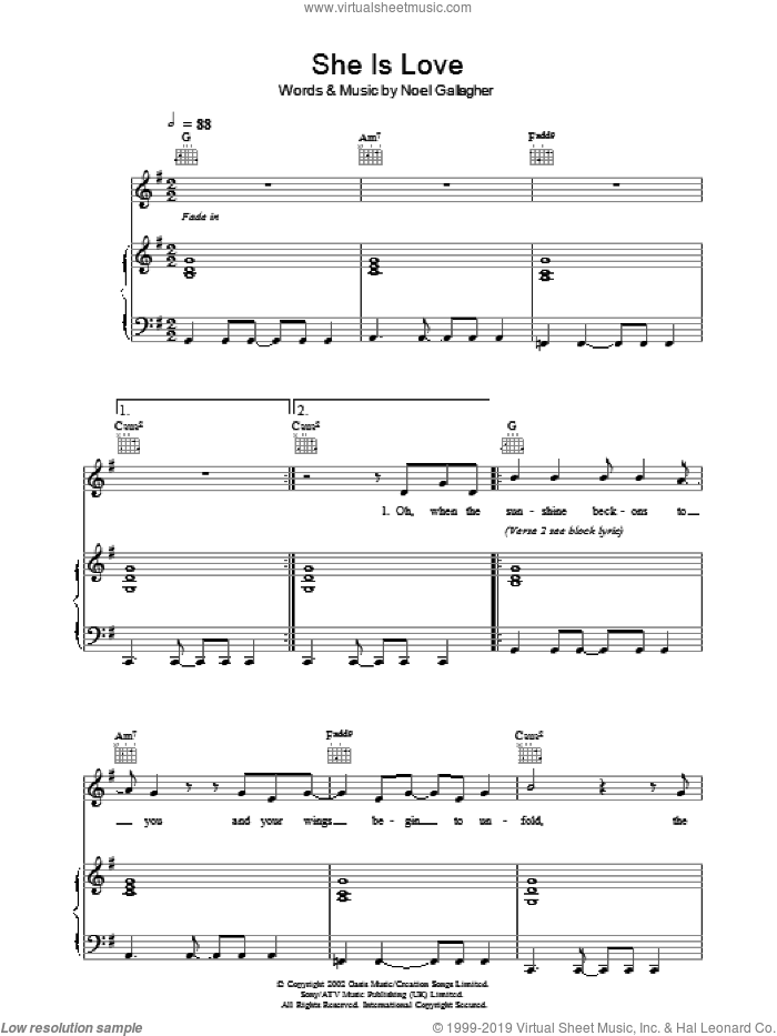 She Is Love sheet music for voice, piano or guitar by Noel Gallagher and Oasis. Score Image Preview.