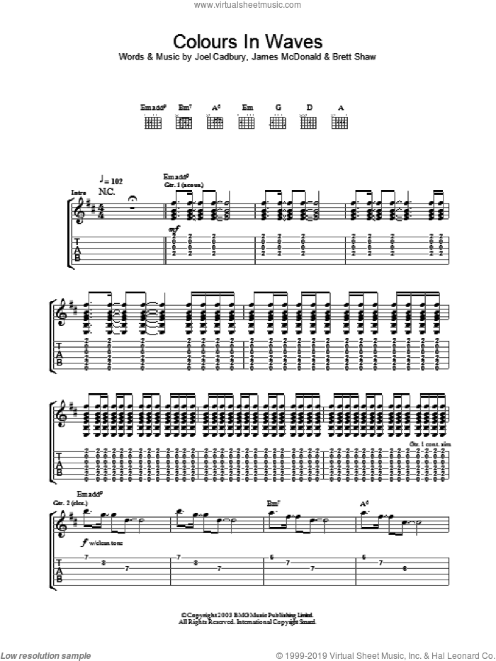 Colours In Waves sheet music for guitar (tablature) by Joel Cadbury. Score Image Preview.