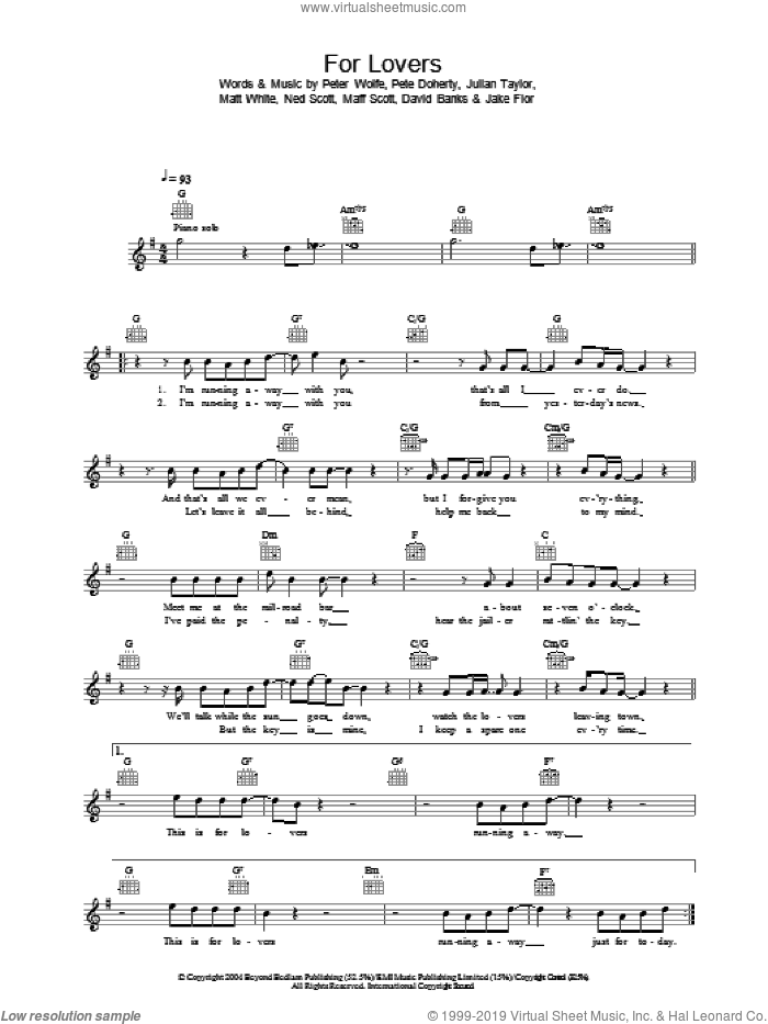 For Lovers sheet music for voice and other instruments (fake book) by Wolfman featuring Pete Doherty and Pete Doherty. Score Image Preview.