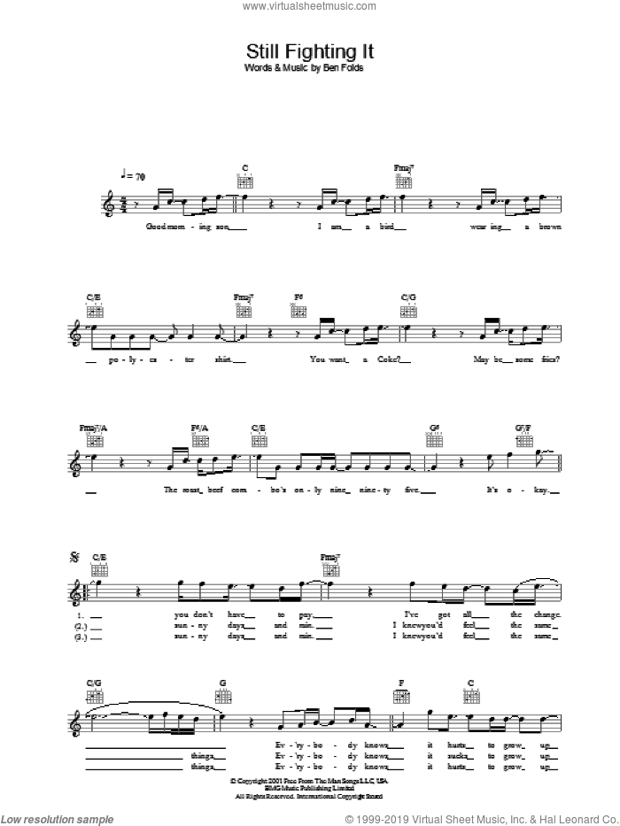 Still Fighting It sheet music for voice and other instruments (fake book) by Ben Folds Five and Ben Folds, intermediate. Score Image Preview.