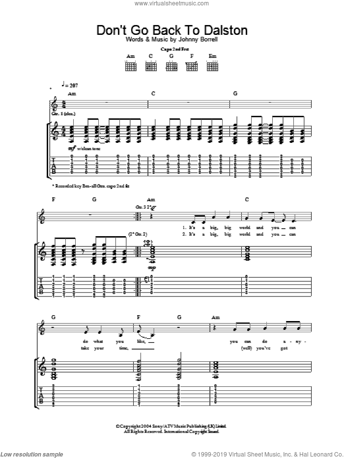 Don't Go Back To Dalston sheet music for guitar (tablature) by Johnny Borrell. Score Image Preview.