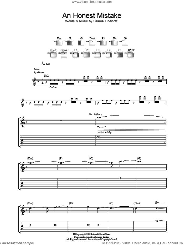 An Honest Mistake sheet music for guitar (tablature) by The Bravery and Samuel Endicott, intermediate. Score Image Preview.