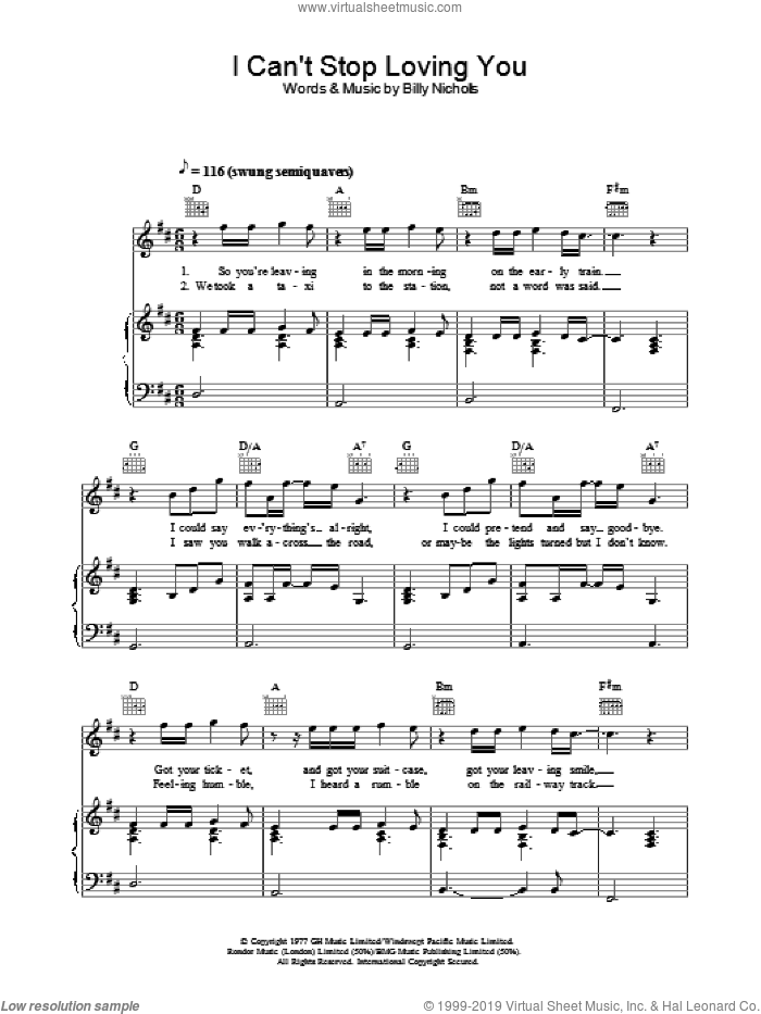 I Can't Stop Loving You sheet music for voice, piano or guitar by Billy Nicholls and Leo Sayer. Score Image Preview.