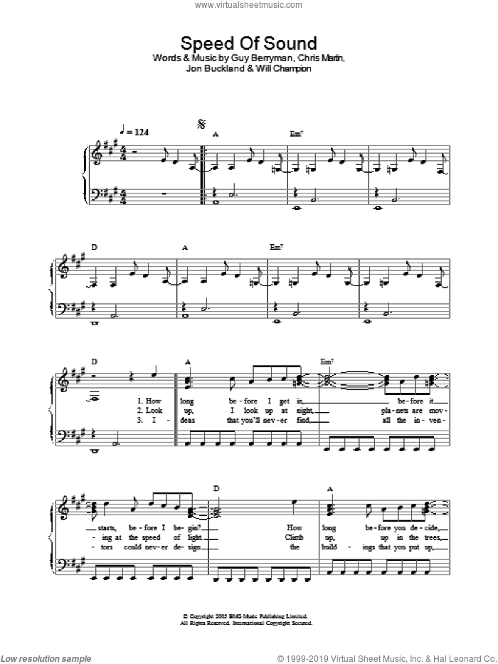 Speed Of Sound, (easy) sheet music for piano solo by Coldplay, Chris Martin, Guy Berryman, Jon Buckland and Will Champion, easy skill level