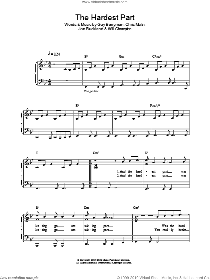 The Hardest Part sheet music for piano solo by Will Champion, Coldplay, Chris Martin, Guy Berryman and Jon Buckland. Score Image Preview.