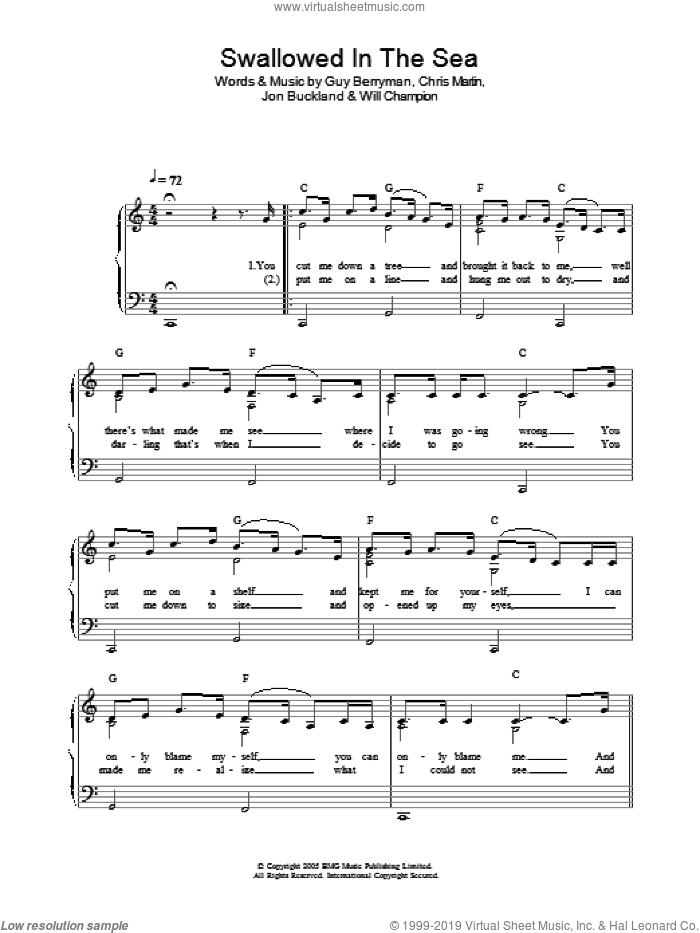 Swallowed In The Sea sheet music for piano solo by Coldplay, Chris Martin, Guy Berryman, Jon Buckland and Will Champion, easy skill level