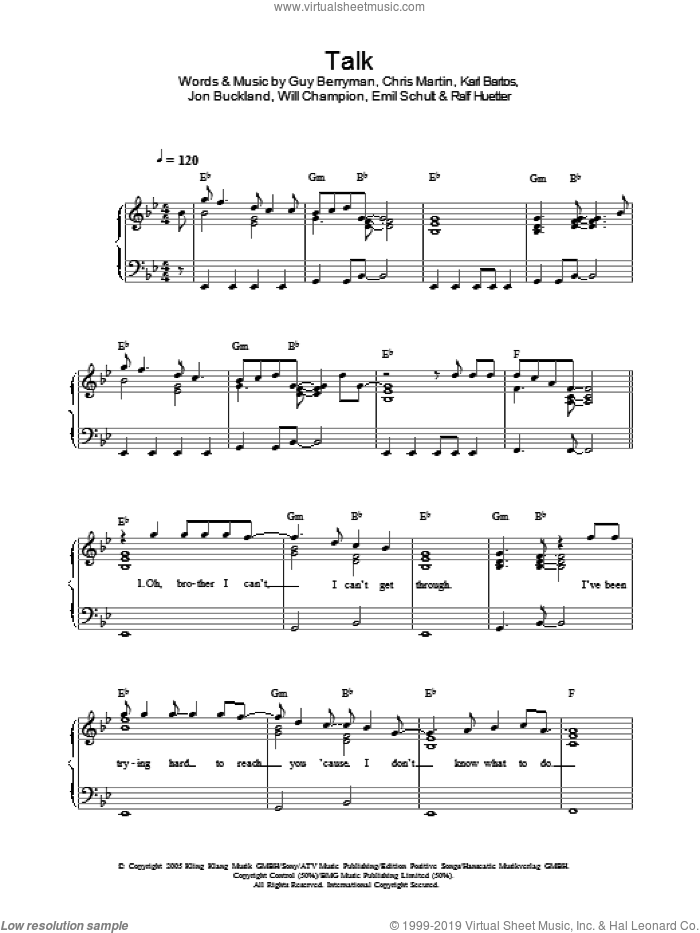 Talk sheet music for piano solo by Will Champion, Coldplay, Chris Martin, Emil Schult, Guy Berryman and Jon Buckland. Score Image Preview.