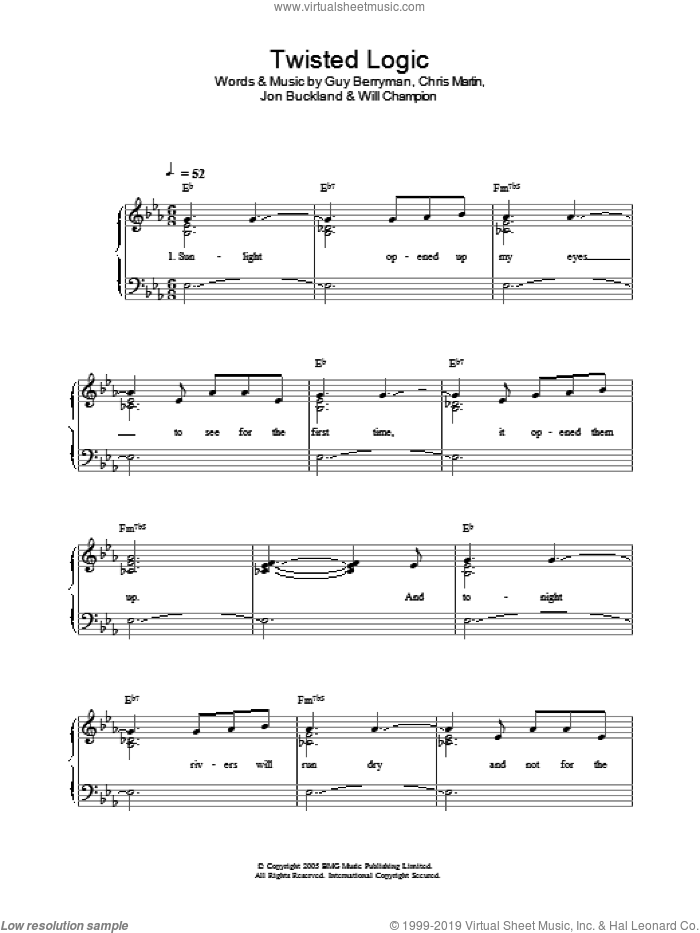Twisted Logic sheet music for piano solo by Coldplay, Chris Martin, Guy Berryman, Jon Buckland and Will Champion, easy skill level