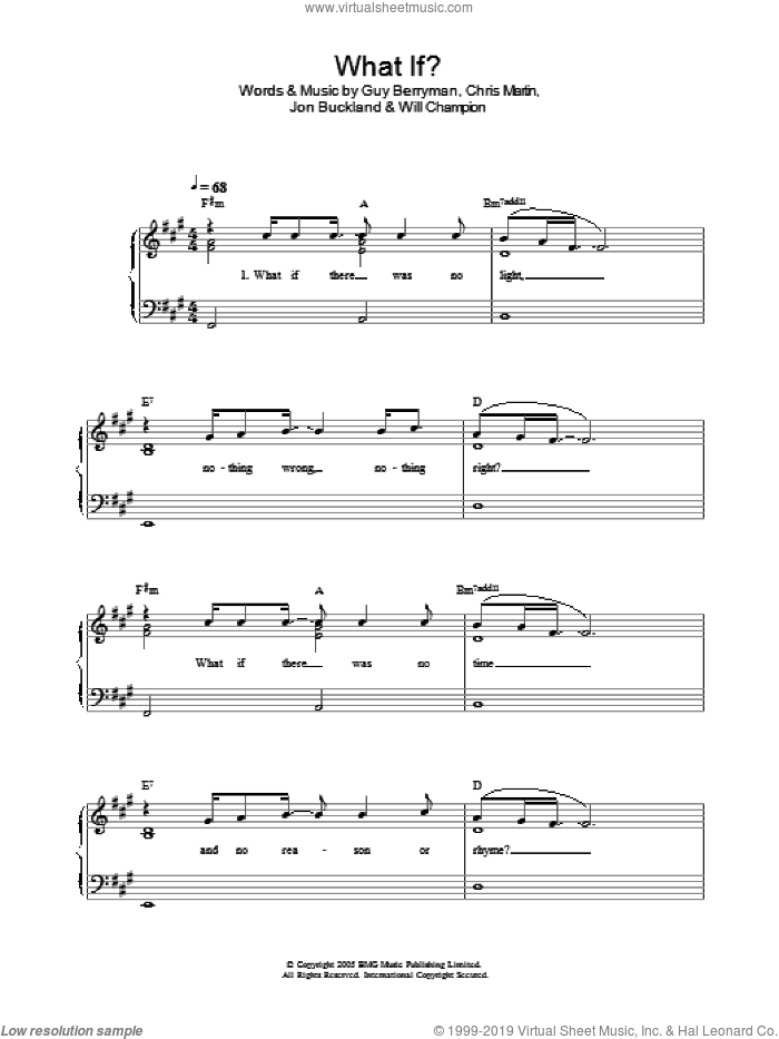 What If? sheet music for piano solo by Coldplay, Chris Martin, Guy Berryman, Jon Buckland and Will Champion, easy skill level