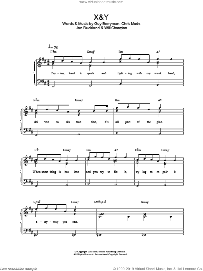 X&Y, (easy) sheet music for piano solo by Coldplay, Chris Martin, Guy Berryman, Jon Buckland and Will Champion, easy skill level