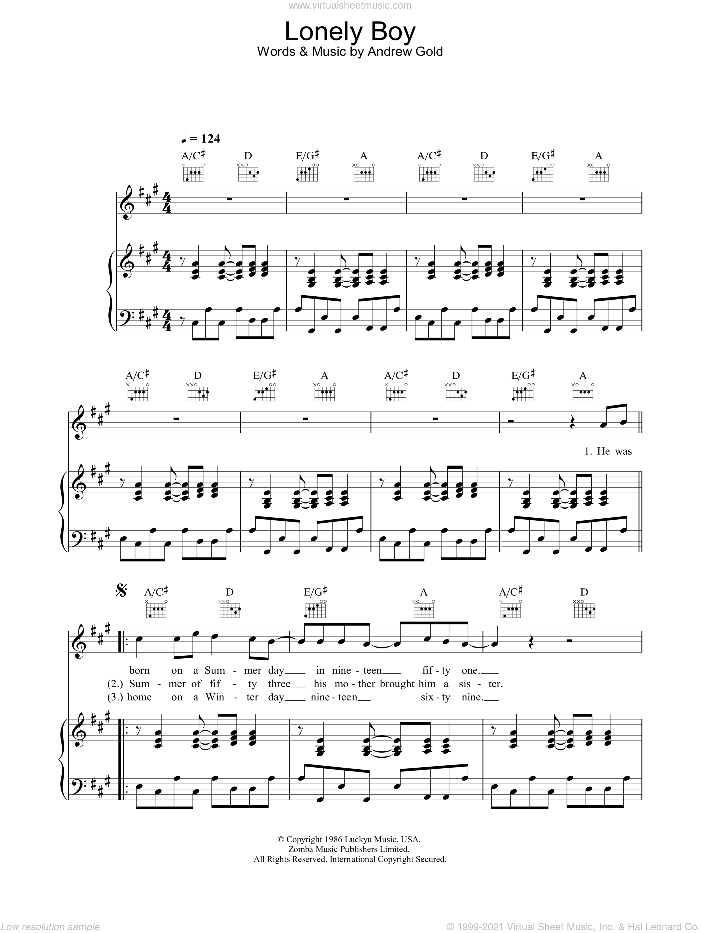 Lonely Boy sheet music for voice, piano or guitar by Andrew Gold, intermediate skill level